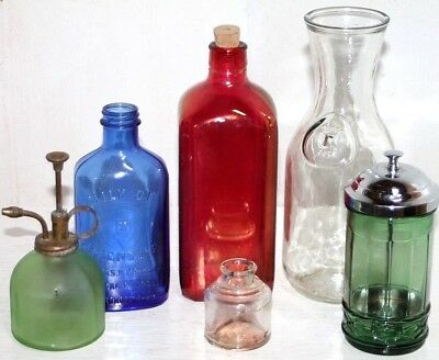 Antique / Vintage Glass Lot. Milk Bottle, Apothecary, Inkwell, Barbicide Jar...