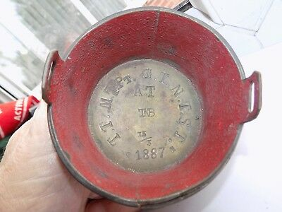Antique 1887 Dated Brass & Pewter Coopered Pail Measure Spirit Measure Stamped