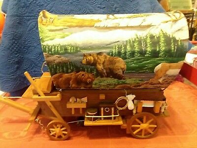 * Vintage Western Wooden Covered Wagon Lamp. Bighorn & Bear printed fabric