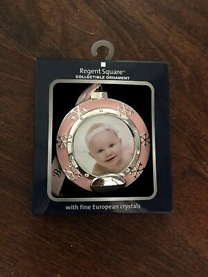 Regent Square 2017 Baby's 1st First Christmas Picture Ornament  GIRL PINK ROUND