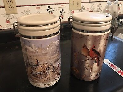 VINTAGE Cardinal Canister Set Of 2