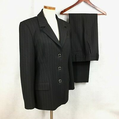 St John Collection Marie Gray D Gray Striped Poly Rayon Spandex Pant Suit 14-10