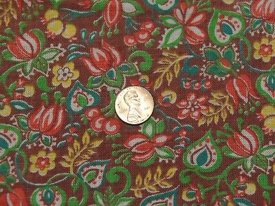 Vtg Feedsack Fabric, Dark Brown Bckgrd, Small Red, Green, Yellow Flowers Allover