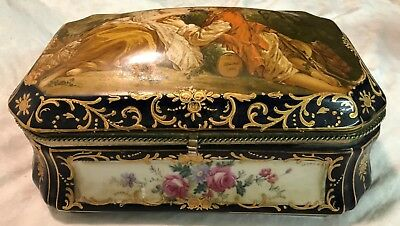 R S Reinhold Schlegelmilch Antique Porcelain Hinged Box - Made in Germany