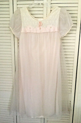 Darling Blush Pink VTG MISS SIREN NYLON Satin NIGHTGOWN LACE Embroidered M