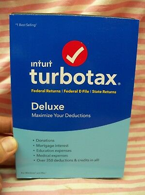 Intuit TurboTax Deluxe 2017 FEDERAL & STATE + E-FILE FOR Windows+Mac Sealed USA
