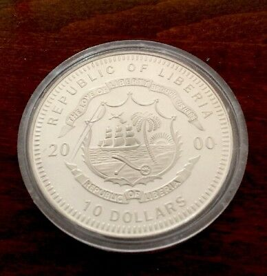 Silber Münze 10 Dollars Republic of Liberia 2000 Timber Wolf