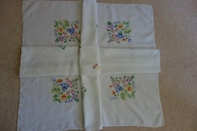 """Vintage Hand Embroidered Linen Tablecloth – 40"""" x 44"""""""