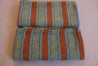 """Vintage Heavy Woven Cotton Pair of Striped Curtains  - 42"""" W x 87"""" L"""