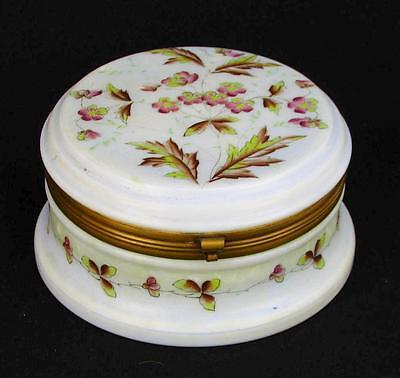 "Antique Victorian Handpainted Floral Art Glass Casket Hinged Box 6-5/8"" Diameter"