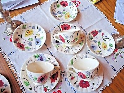 Blue Ridge Southern Pottery Chintz 3 Sauce Bowls 3 Cups & Saucers