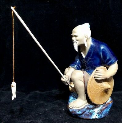 Chinese Vintage Antique Porcelain Fisherman Statue Figurine