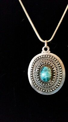 vtg1000 Silver Ancient Egyptian Scarab Beetle Pendant Necklace ceramic scarab