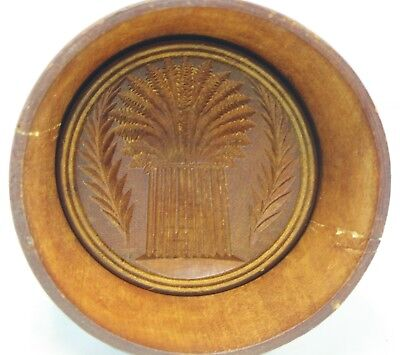Primitive Dark Wood Butter Cookie Mold Stamp Press - Wheat Sheaf Design