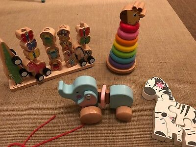 Babys Bundle Of Wooden Toys 9 Months + Excellent Condition Pull Along, Puzzle
