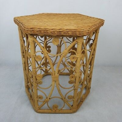 Vintage Bamboo Rattan Wicker Side Table Peacock Stand Boho Retro Mid-century