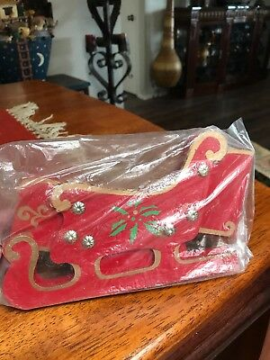 Old Store Stock Red Wooden Folding Sleigh  Christmas