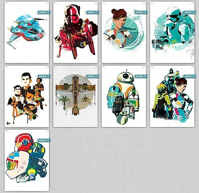 Topps STAR WARS DIGITAL Card Trader RESISTANCE POSTERS SERIES WHITE [9 CARD SET]