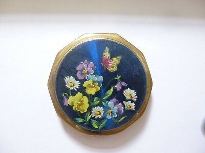 stratton vintage powder compact butterfly and flowers pattern