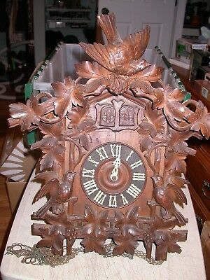 Antique Large Cuckoo Clock 8 Day Hand Carved Great Detail Birds Flowers