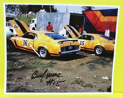 1970 Bud Moore Signed Racing Photo Boss 302 TransAm Mustang SCCA Ford C Shelby