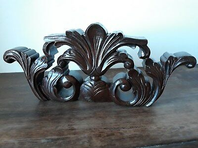 Vintage Architectural Carved Mahogany Wood Pediment