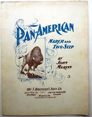 1901 BUFFALO WORLD'S FAIR sheet music PAN-AMERICAN March-2 Step PIANO SOLO