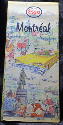 Vintage Stylish 1950s 1960s ESSO Imperial Map MONTREAL Quebec Canada