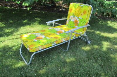 Vtg Mid Century Modern Aluminum Chaise Lounge Chair Floral Cushions Lawnlite