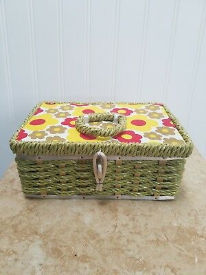 Dritz sewing box Scovil green yellow red floral vintage gently used