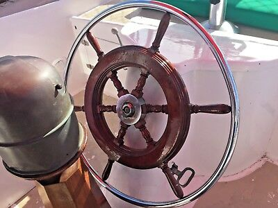"Vintage Old Chromed Bronze And Mahogany 27"" Ship's Wheel 1"" Shaft W/1/4"" Keyway"