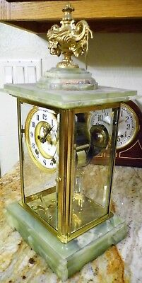 "Antique Ansonia Green Onyx ""Count"" Crystal Regulator – c 1914 – Open Escapement"