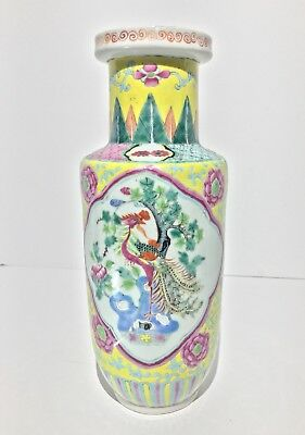 Antique Chinese Wucai Enameled Porcelain Phoenix Vase Qing Dynasty 18th~19th C.