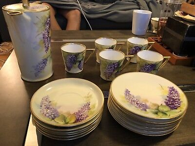 Antique UNO Favorite Bavaria pansy flowers, Hand Painted Porcelain Set