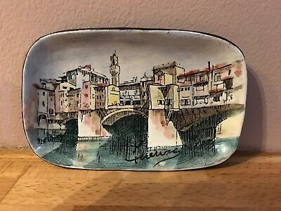 Leather And Enamel Firenze Italy Dish