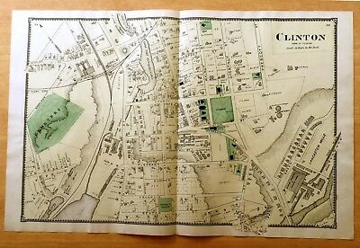 Original Antique 1870 Map CLINTON, MA Massachusetts 2-Pg BEERS VERY DETAILED