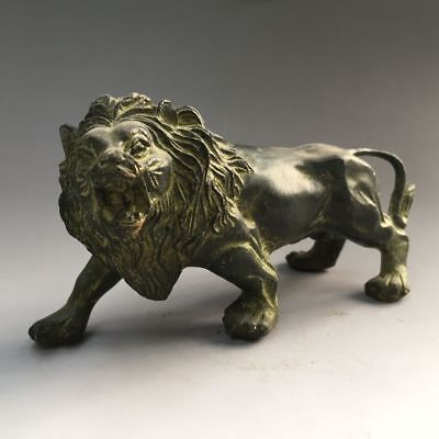 Exquisite Old China bronze handmade fengshui lucky Wild animal Lion statue