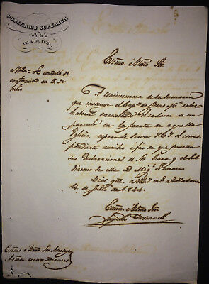 1844 Cuba signed Captain General LEOPOLDO O'DONNELL ~ Prime Minister of Spain