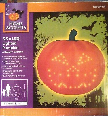 Gemmy Airblown Inflatable Halloween Animated Musical Lighted Pumpkin 5Ft Nib