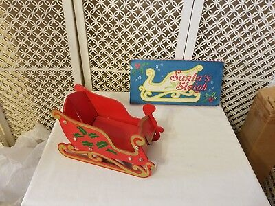Vintage Red Wood Collapsible Christmas Sleigh Made in Taiwan