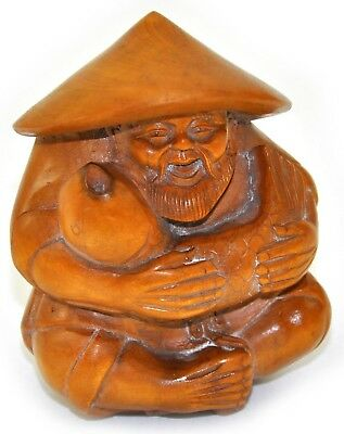 """5"""" Vintage Chinese Natural Wood Hand Carved Fisherman catch Fish Figurine Statue"""