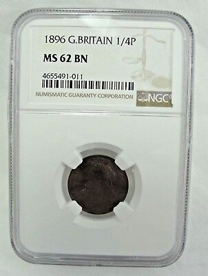 1896 Great Britain 1/4P MS62 BN NGC Certified . - NO RESERVE
