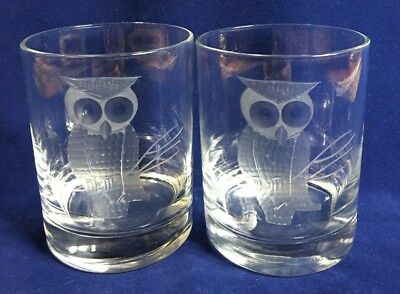 2 DOUBLE old fashioned GLASSES Etched OWL clear glass MCM Vintage BARWARE EUC