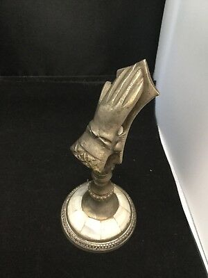 Victorian Hand Glove Paper Clip Letter Note Card Holder Silver Mother of Pearl