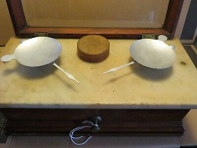 Antique Apothecary Pharmaceutical Scale Oak Wood Box With Weights