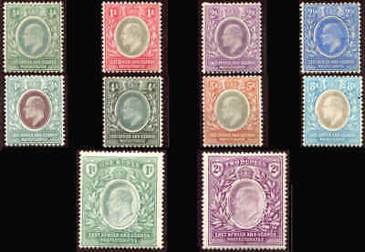 EAST AFRICA and UGANDA  KEVII Sc 17 - 26 MH Very Fine