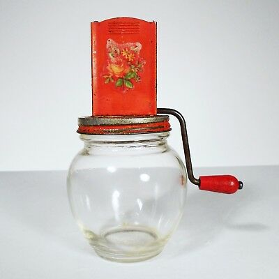 Vintage Nut Spice Kitchen Snack Chopper Grinder Metal Glass Jar 5935