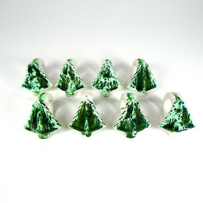 Ceramic Napkin Holders Rings Christmas Holiday Pine Tree Set of 8
