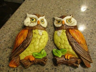 2 Vintage LEFTON Ceramic Owl Hanging Wall Plaques Red Label Japan #382 Chalkware