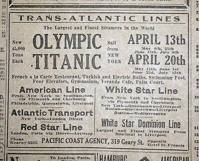 Rare White Star Titanic & Olympic Cruise Ad - 1912 San Francisco Newspaper Page